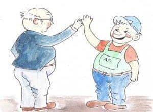 Medarbejder og leder giver hånd. Omstillingsfonden